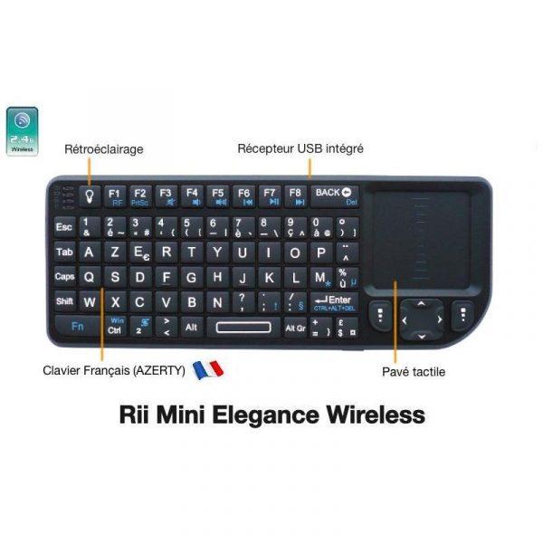 Mini-Clavier Azerty Sans Fil - Rii X1