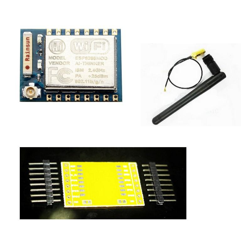 ESP8266 (CMS) + Plaque Adaptatrice pour BreadBoard + Antenne 3db