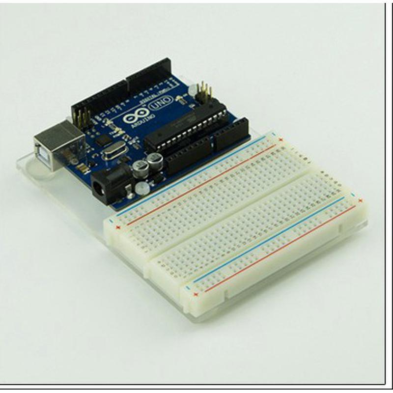 Plan de travail en plexiglas pour Arduino R3 et BredBoard 400 points