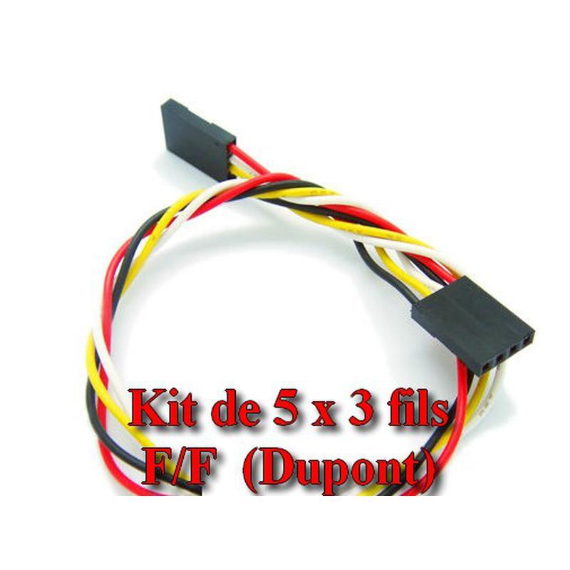 Kit de 5 câbles Dupont, 3 fils, connecteur Femelle-Femelle