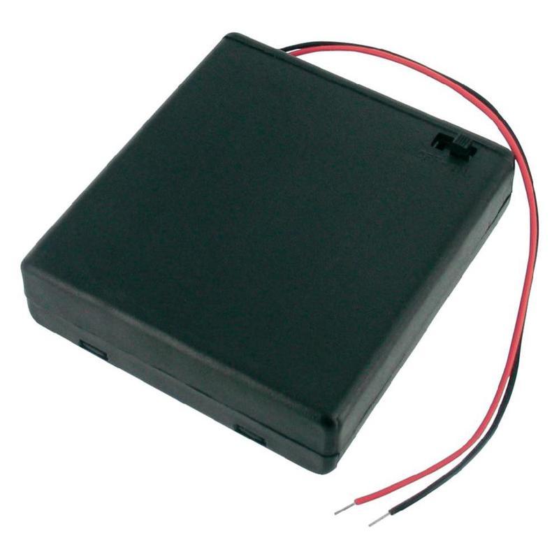 Boîtier support pour 4 piles 1.5V R6/AA avec interrupteur