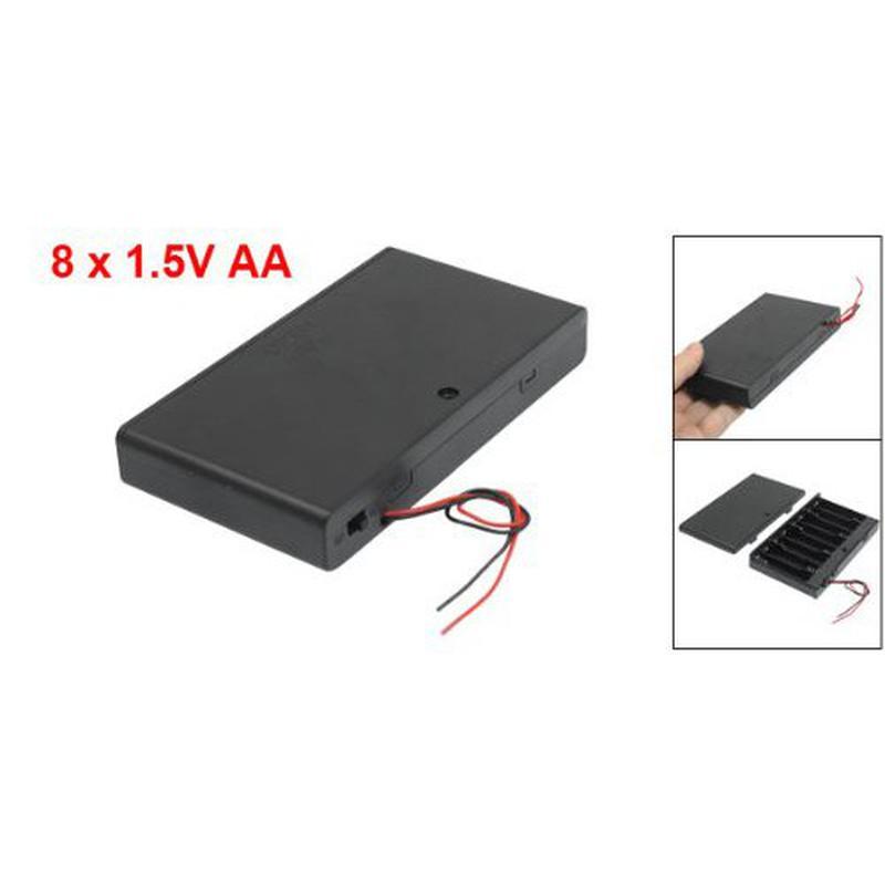 Boîtier support pour 8 piles 1.5V R6/AA avec interrupteur