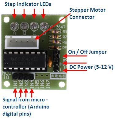Moteur Pas-à-Pas 28BYJ-48 + Interface UNL2003