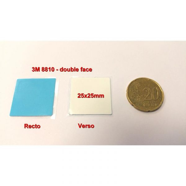 Adhésifs 3M 8810 - 25x25mm recto/verso pour transfert thermique