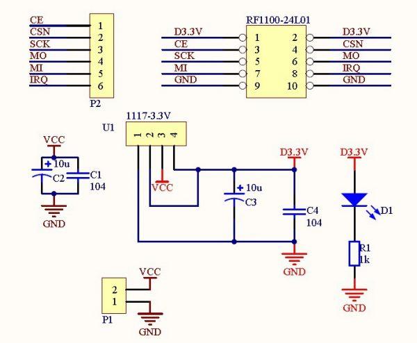 5V vers 3.3V pour nRF24L01
