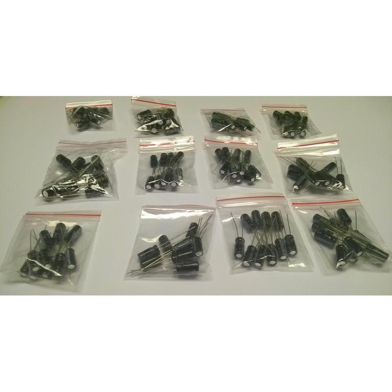 Pack de 120condensateurs électrolytiques, 12 valeurs de 1uF à 470uF