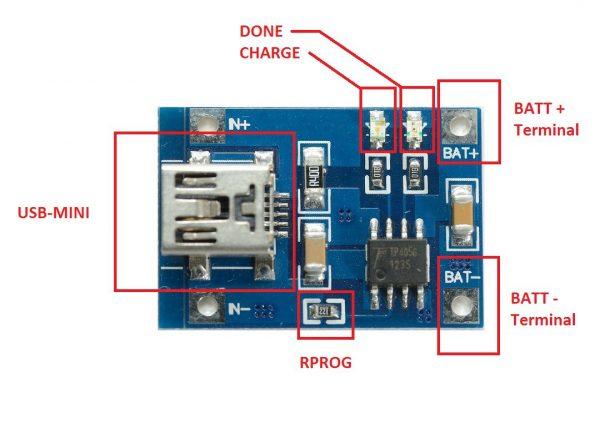 Module chargeur de batterie Li-ION USB TP4056