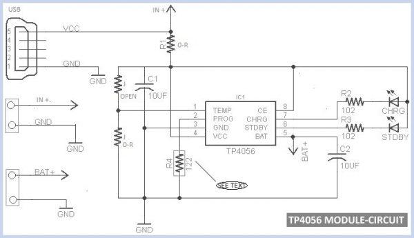 Circuit du module chargeur de batterie Li-ION USB TP4056