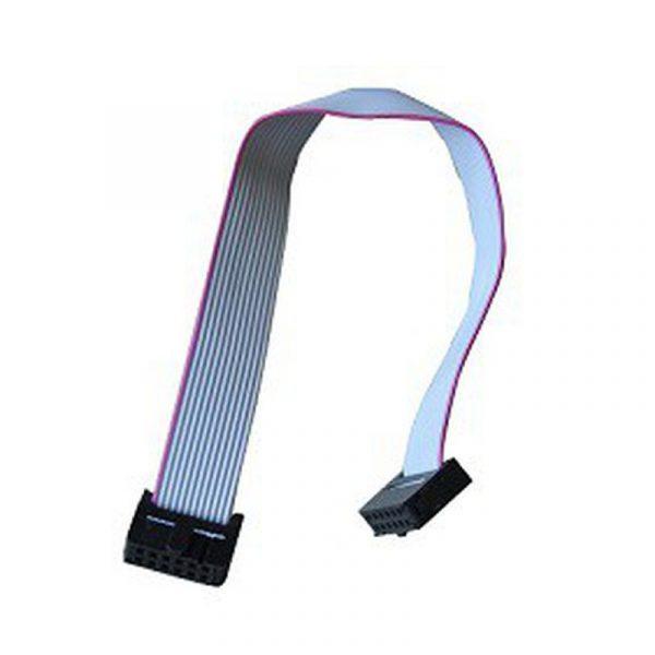 """Câble en """"nappe"""" avec connecteur M/M 12 broches."""