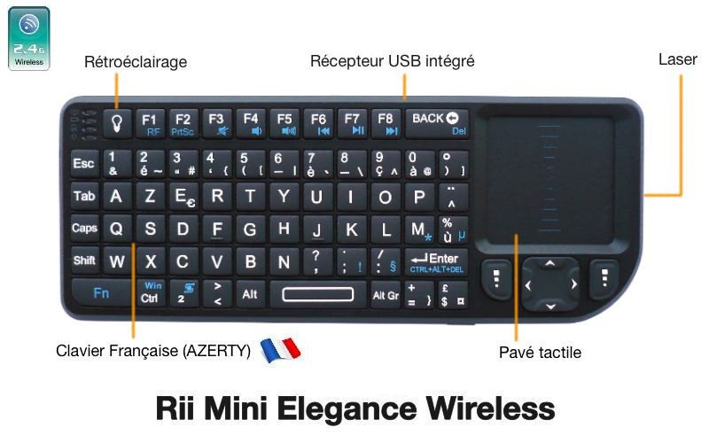Mini-Clavier Azerty Sans Fil - Riitek RT-MWK01+