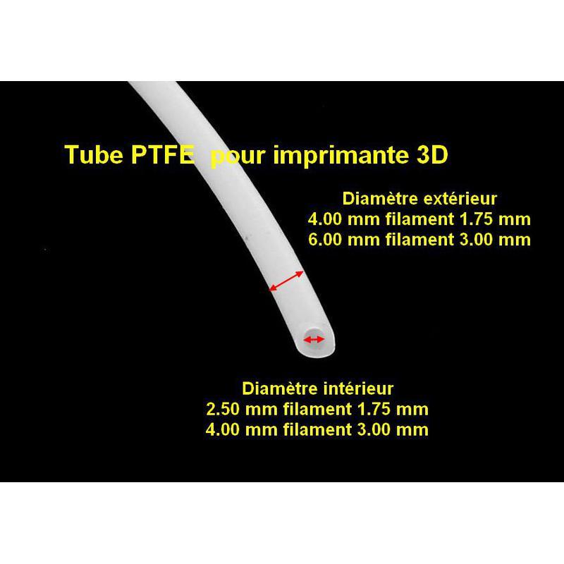 Tube téflon TPFE 2.5 mm intérieur pour filament 1.75mm ( 4 mm/2.5 mm)