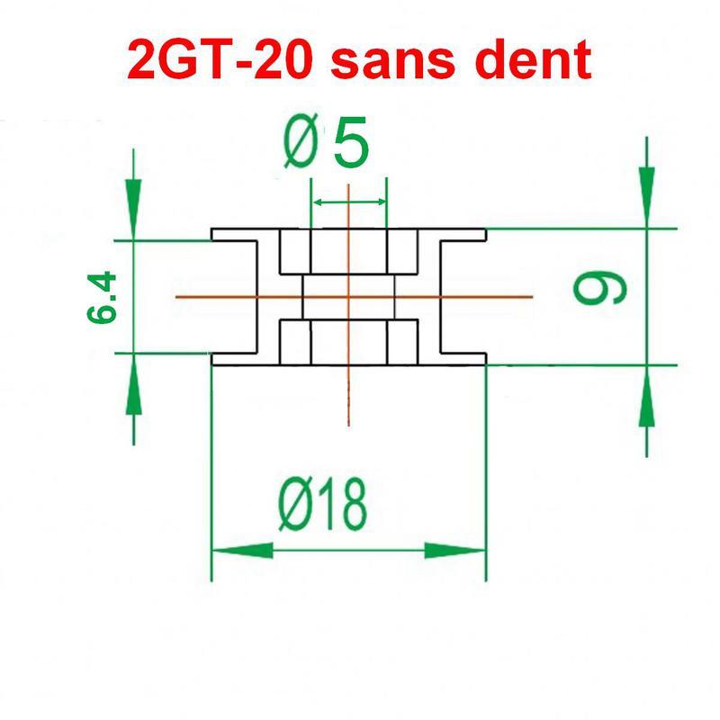 Poulie 2GT-20 sans dent en alliage d'aluminium (courroie GT2 6mm)