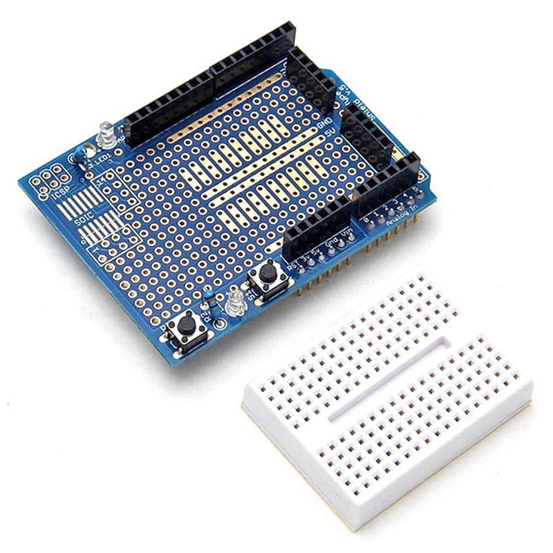 Shield Arduino UNO avec mini breadboard