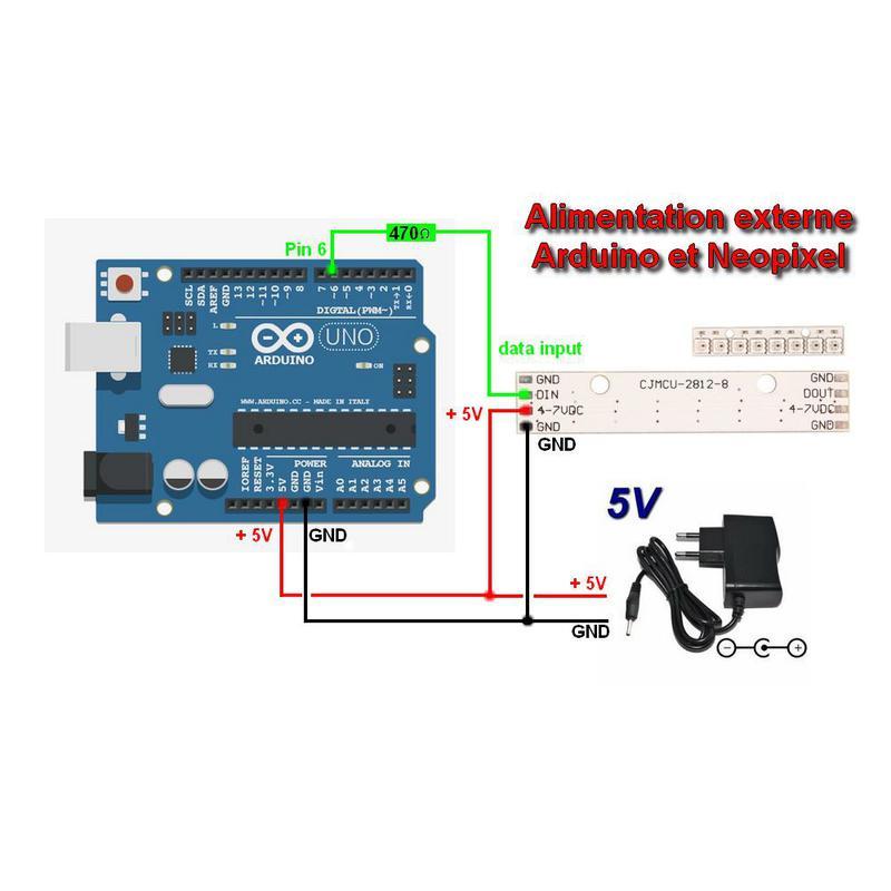 LED Pixel Stick 8 x WS2812 5050 RGB LED pour Arduino