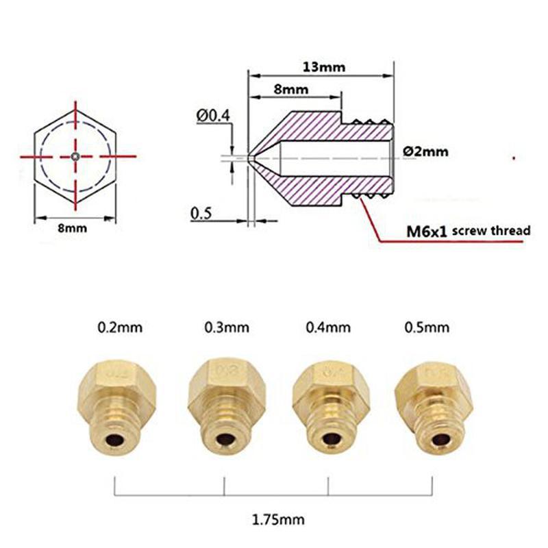 4 Buses d'extrusion 0.2 0.3 0.4 0.5mm pour filament 1.75mm